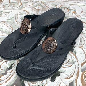 Crocs Black Ladies Wedge Sandals size 11